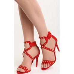 Czerwone Sandały My Sins. Czerwone sandały trekkingowe damskie marki Born2be, z materiału, na wysokim obcasie, na obcasie. Za 89,99 zł.