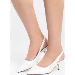 Białe Sandały The Show. Białe sandały damskie marki Born2be, z materiału, na wysokim obcasie, na obcasie. Za 79,99 zł.