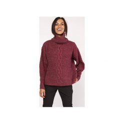 Sweter z warkoczem, SWE115 bordo. Czerwone swetry oversize damskie marki Lanti, l. Za 142,00 zł.