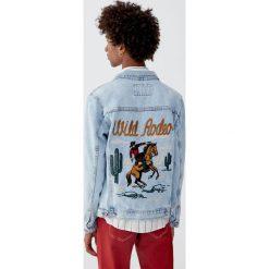 Kurtka z denimu 100% Wild Rodeo. Niebieskie kurtki męskie Pull&Bear, m, z denimu. Za 229,00 zł.