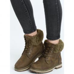 Khaki Traperki Goldeneye. Brązowe buty zimowe damskie marki Born2be, z materiału, z okrągłym noskiem, na obcasie. Za 89,99 zł.