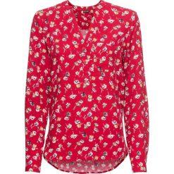Bluzka z dekoltem w serek bonprix ciemnoczerwony w kwiaty. Czerwone bluzki z odkrytymi ramionami marki OLAIAN, s, z materiału. Za 74,99 zł.