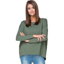 Bluzy damskie: Khaki Bluza z Dłuższym Tyłem