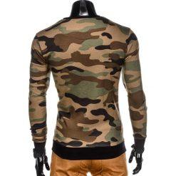 BLUZA MĘSKA BEZ KAPTURA Z NADRUKIEM B798 - ZIELONY/MORO. Zielone bluzy męskie rozpinane marki Ombre Clothing, m, moro, bez kaptura. Za 79,00 zł.