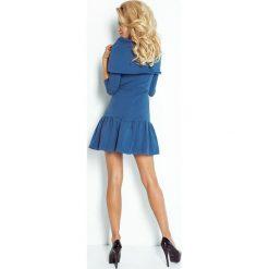 Beata Sukienka z FALBANKĄ I GOLFEM - JEANSOWY NIEBIESKI. Niebieskie sukienki na komunię marki numoco, s, z jeansu, z golfem. Za 159,99 zł.