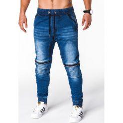 SPODNIE MĘSKIE JEANSOWE JOGGERY P651 - NIEBIESKIE. Niebieskie joggery męskie Ombre Clothing, z bawełny. Za 79,00 zł.
