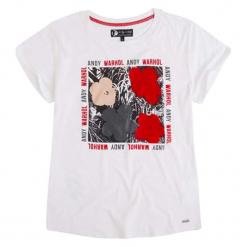 T-shirt w kolorze białym. Białe t-shirty damskie Pepe Jeans, xs, z aplikacjami, z okrągłym kołnierzem. W wyprzedaży za 89,95 zł.