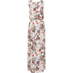 Długie sukienki: Długa sukienka w kwiaty bonprix biel wełny w kwiaty