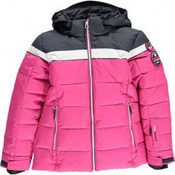 Kurtka narciarska w kolorze granatowo-różowym. Czerwone kurtki dziewczęce przeciwdeszczowe marki Reserved, z kapturem. W wyprzedaży za 277,95 zł.
