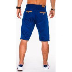 KRÓTKIE SPODENKI MĘSKIE CHINO P520 - JASNOGRANATOWE. Niebieskie szorty męskie marki Ombre Clothing, eleganckie. Za 39,00 zł.