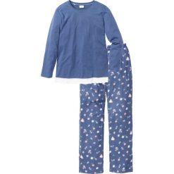 Piżamy damskie: Piżama bonprix indygo melanż – z nadrukiem