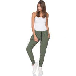 Spodnie dresowe damskie: Khaki Dresowe Spodnie z Wiązaniem w Pasie