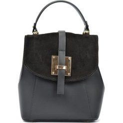 Torebki i plecaki damskie: Skórzany plecak w kolorze czarnym – (S)24 x (W)22 x (G)11 cm