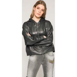 Guess Jeans - Bluza Sabine. Szare bluzy z kapturem damskie marki Guess Jeans, l, z aplikacjami, z bawełny. W wyprzedaży za 239,90 zł.