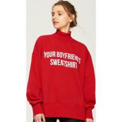 Bluza oversize z nadrukiem - Czerwony. Czerwone bluzy z nadrukiem damskie Sinsay. Za 59,99 zł.