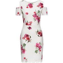 Sukienki: Sukienka w kwiaty z koronką bonprix kremowy w kwiaty