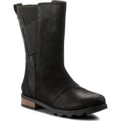 Kozaki SOREL - Emelie Mid NL2679 Black 010. Czarne buty zimowe damskie Sorel, z gumy, przed kolano, na wysokim obcasie, na obcasie. W wyprzedaży za 429,00 zł.