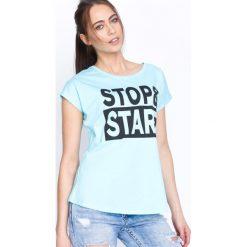 T-shirty damskie: Niebieski T-shirt Stop&Stare