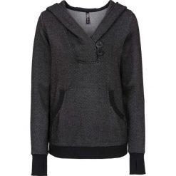 Bluza z kapturem i kieszenią bonprix czarny melanż. Czarne bluzy rozpinane damskie bonprix, melanż, długie, z kapturem. Za 129,99 zł.