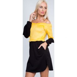 Sukienka odcinana z pluszu żółta 6563. Żółte sukienki Fasardi, m. Za 44,00 zł.