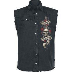 Koszule męskie na spinki: Spiral Unspoken Koszula bez rękawów - Workershirt czarny