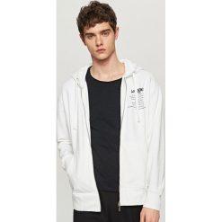 Bluzy męskie: Rozpinana bluza z kapturem – Biały