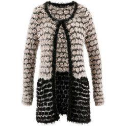 Sweter rozpinany z przędzy z długim włosem bonprix beżowoszaro-czarny. Szare swetry klasyczne męskie marki Reserved, l. Za 79,99 zł.