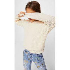 Mango Kids - Sweter dziecięcy Water 110-164 cm. Szare swetry dziewczęce Mango Kids, z bawełny, z okrągłym kołnierzem. Za 79,90 zł.