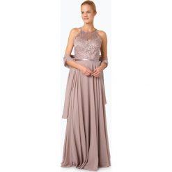 Sukienki: Luxuar Fashion – Damska sukienka wieczorowa z etolą, beżowy