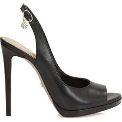 Buty ślubne damskie: Czarne czółenka peep toe