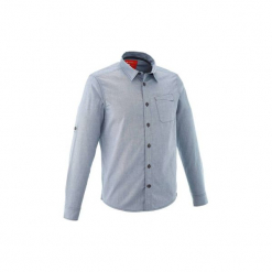 Koszula TRAVEL 100 męska. Szare koszule męskie marki QUECHUA, m, z bawełny. W wyprzedaży za 44,99 zł.