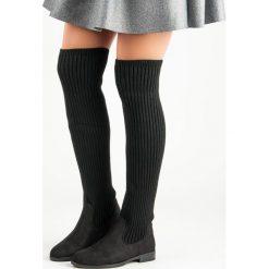 Buty zimowe damskie: MUSZKIETERKI NA PŁASKIM OBCASIE
