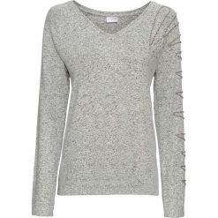 Swetry klasyczne damskie: Sweter z miękkiej dzianiny o splocie drobnych oczek, z perełkami bonprix jasnoszary melanż