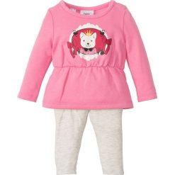 Sukienki niemowlęce: Sukienka dresowa niemowlęca + legginsy (2 części), bawełna organiczna bonprix jaskrawy jasnoróżowy – naturalny melanż