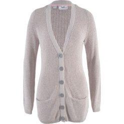 Sweter rozpinany z kieszeniami bonprix jasnoszary - pastelowy jasnoróżowy melanż. Czerwone kardigany damskie marki bonprix, melanż. Za 74,99 zł.