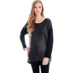 Bluzka - tunika - 13-16570 NERO. Czarne bluzki z odkrytymi ramionami Unisono, l, z bawełny, eleganckie, z asymetrycznym kołnierzem. Za 49,00 zł.