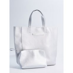 Duża torba shopper z kosmetyczką - Srebrny. Szare kosmetyczki damskie Mohito, duże. Za 99,99 zł.