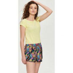 T-shirty damskie: T-shirt z wiązaniem na plecach – Żółty