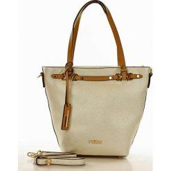 Shopper bag damskie: NOBO Trapezowa torebka na ramię perłowa biel