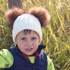 Czapka 2 pompony Merynos Dziecięca. Brązowe czapeczki niemowlęce Pakamera, ze skóry. Za 77,00 zł.