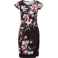 Sukienki: Sukienka z dżerseju w kwiatowy deseń bonprix czarny z nadrukiem