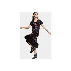 SUKIENKA ĆMA FRILL. Czarne sukienki z falbanami Colorat, l, z wiskozy, dekolt w kształcie v. Za 245,00 zł.