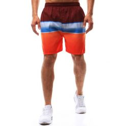 Kąpielówki męskie: Spodenki kąpielowe męskie bordowo-niebiesko-pomarańczowe (sx0365)