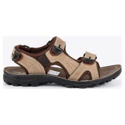 Sandały męskie: SKÓRZANE SANDAŁY MĘSKIE – odcienie brązu i beżu