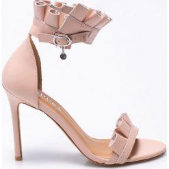 Badura - Sandały. Czarne sandały damskie marki Kazar, z nubiku, na wysokim obcasie, na szpilce. W wyprzedaży za 239,90 zł.