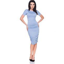 Niebieska Sukienka Bodycon Drapowana na Bokach. Czerwone sukienki koktajlowe marki Molly.pl, l, z jeansu, z dekoltem na plecach, z długim rękawem. Za 138,90 zł.