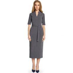 CIRA Sukienka midi z rozcięciem z przodu - szara. Szare sukienki hiszpanki Stylove, midi, proste. Za 159,90 zł.