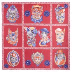 Chusty damskie: Versace 19.69 Chusta Damska Cat Wow! Czerwony