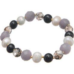Bransoletki damskie: Bransoletka w kolorze czarno-fioletowym z kamieniami