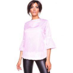 """Koszulka """"Kelly"""" w kolorze jasnoróżowym. Czerwone bluzki damskie La Belle Française, s, w paski, z okrągłym kołnierzem. W wyprzedaży za 152,95 zł."""